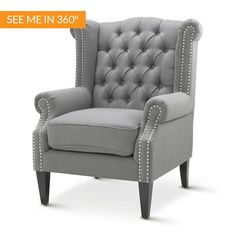 With a classic wingback design the Royale Wingback Arm Chair in Wolf Grey is the epitome of luxury, sophistication and elegance. Built with solid hard wood t...
