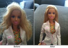 Barbie Hair Spray! Use Fabric softner to fix Barbie's hair! Brilliant! Instructions attached, just click on the picture.