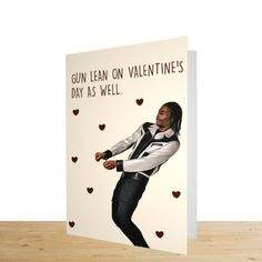 Russ Gun lean valentines card, Valentine's card for him.