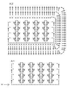 Gehaakte DROPS deken met vierkantjes en waaier patroon van Big Merino.