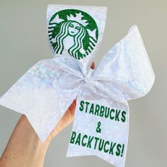 Starbucks and Back Tucks holographic spandex Cheer Bow Backtucks - Hair Style Sofisty Cheerleading Quotes, Cheerleading Bows, Cheer Quotes, Cheerleader Gift, Golf Quotes, Volleyball Quotes, Cute Cheer Bows, Cheer Mom, Big Bows
