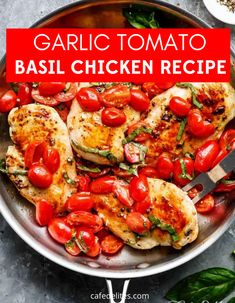 Garlic Tomato Basil Chicken is a colorful and healthy weeknight dinner. This is one of my favorite chicken recipes you pan fry up in the skillet. If you are a fan of tomatoes and chicken, this recipe might be right up your alley. #chicken #skillet #garlic #tomato #easy #weeknight #basil Yummy Chicken Recipes, Turkey Recipes, Easy Healthy Recipes, Easy Dinner Recipes, Healthy Weeknight Dinners, Basil Chicken, Tomato Basil, Cooking Recipes, Keto Recipes