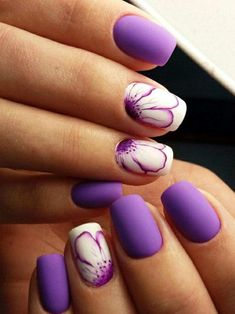 Popular nail polish ideas for the Spring Trend 2018 39 Number Details - Most Trending Nail Art Designs in 2018 Purple Christmas Nail Art Designs Ideas For Winter Purple nail art looks great on long nails. Especially purple shades help out owners of extend Nail Art Designs, Purple Nail Designs, Colorful Nail Designs, Nail Designs Spring, Nails Design, Floral Designs, Nail Art Flowers Designs, Nail Art Violet, Purple Nail Art