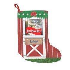 Custom (Your  Photo) Barn Door Stocking - Xmas ChristmasEve Christmas Eve Christmas merry xmas family kids gifts holidays Santa