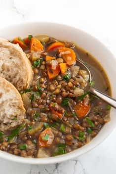 Delicious, comforting and vegan. This French lentil soup is packed full of plant based protein and it is so quick and easy to make! Earthy French lentils are simmered with fresh rosemary and thyme in this flavourful sweater weather soup. French Lentil Soup, French Green Lentils, Lentil Stew, Lentil Vegetable Soup, French Soup, New Recipes, Vegan Recipes, Cooking Recipes, French Vegetarian Recipes