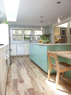 Retro And Yet Modern! Love The Combinations Here And The Hickory Hardwood  Floors Really Pull