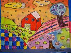 Lines, Dots, and Doodles: 4th Grade Folk art landscape