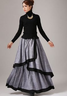 Gray long skirt linen maxi skirt layered skirt 771 от xiaolizi