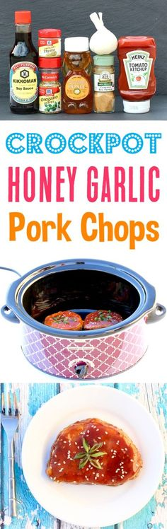 Crockpot Honey Garlic Pork Chops Recipe! This Easy Slow Cooker Dinner is so simple to make and packed with flavor! Add it to your menu this week! Honey Garlic Pork Chops, Crock Pot Pork Chops, Crockpot Dishes, Crock Pot Cooking, Crockpot Recipes, Pork Dishes, Easy Pork Chop Recipes, Pork Recipes, Cajun Recipes
