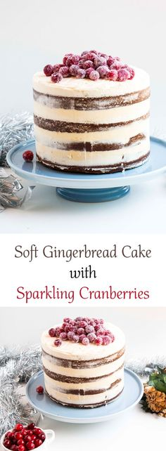 This Soft Gingerbread Cake with Sparkling Cranberries is the perfect Christmas table centre piece. Delicious and so beautiful and majestic. Easy Christmas Cake Recipe, Christmas Desserts, Christmas Baking, Christmas Cakes, Christmas Gifts, Cupcakes, Cupcake Cakes, Cake Recipes, Dessert Recipes