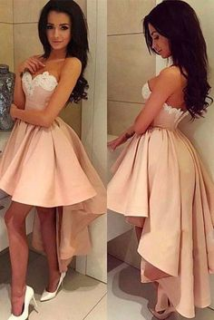 Sexy Sweetheart High-low Pink A Line Short White Lace Homecoming/Prom Dress OK288