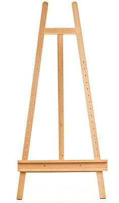 Displays2go Wooden Artist Easel for Floor with Height Adjustable Shelf for Canvases