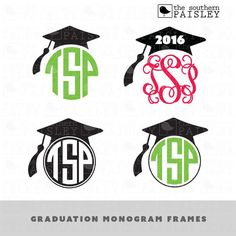 These Graduation Monogram Frame files are for use in your Silhouette Studio, Cricut, or other programs that can read .ai, .dxf, .eps, .pdf,
