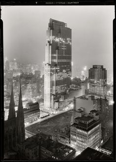 """30 Rock: 1933"" New York. December 5, 1933. ""Rockefeller Center and RCA Building from 515 Madison Avenue."" Digital image recovered from released emulsion layer of the original 5x7 acetate negative. Photo by Samuel H. Gottscho."