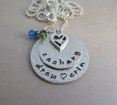 Personalized Mother's Necklace - Hand Stamped Sterling Silver