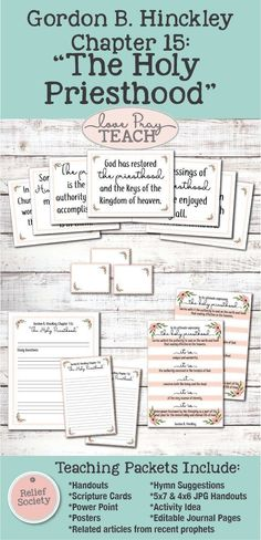 """Relief Society Gordon B. Hinckley Chapter 15: """"The Holy Priesthood"""" Lesson helps including printables, handouts, posters, power points, activity ideas, object lesson and more! www.LovePrayTeach.com"""