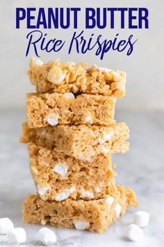 Step-by-step photos help you make these Peanut Butter Rice Krispie Treats. Easy & delicious these are perfect for a lunchtime treat or midnight snack. Fun Baking Recipes, Best Cookie Recipes, Bakery Recipes, Sweet Recipes, Dessert Recipes, Easy Recipes, Peanut Butter Rice Krispies, Rice Krispie Treats, Sweet Desserts