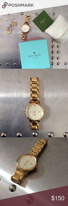 Kate Spade Watch Gold Gramercy Grand Used, battery works, links included kate spade Accessories Watches