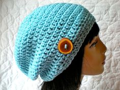 READY  to  SHIP-  Slouch Hat,  women/ teen slouchy beanie, Iced Aqua, handmade crocheted winter fashion, handmade wooden button