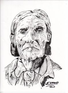 Geronimo Portrait (fine line pen) soldm
