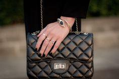 Black matte nails & black leather Chanel bag
