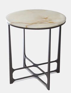 Leonid Low Side Table / Bronze, copper or brass marble or onyx top by Christopher Hall