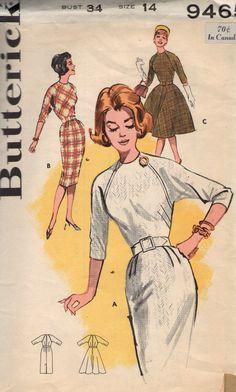 VINTAGE 1960s BUTTERICK SEWING PATTERN 9465- MISSES` DRESS