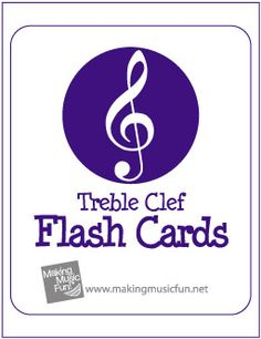 Free Printable Music Flash Cards | Treble Clef Note Names - http://makingmusicfun.net/htm/f_printit_lesson_resources/flash-cards-tc.htm