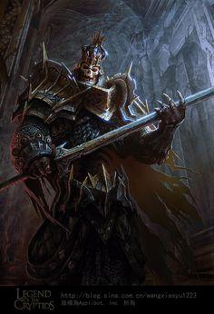Undead king lord knight death knight grave knight undead champion skeletal in black plate, crowned helm and with sword Dark Fantasy Art, Fantasy Armor, Medieval Fantasy, Fantasy World, High Fantasy, Skeleton King, Skeleton Warrior, Ronin Samurai, Death Knight