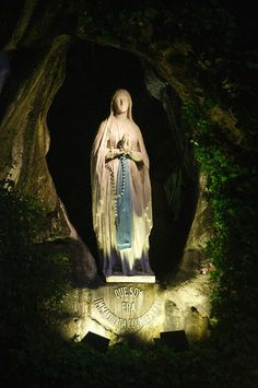 The image of Our Lady of Lourdes in the Grotto of Massabielle, the apparition site of the Blessed Mother in 1858 to St. Bernadette Soubirous.