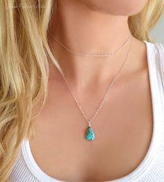 Layered Sleeping Beauty Turquoise Multi Strand Necklaces