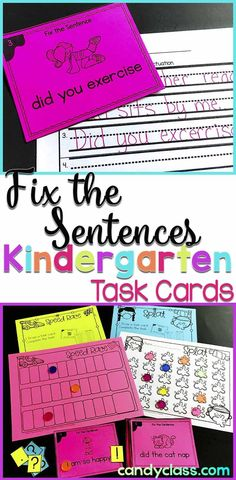 Students can fix the sentence in a hands-on way and then write it! These grammar task cards come with anchor chart posters and some fun games too. Though geared just for the kindergarten classroom, these can also be used as extra practice or intervention in the first grade class. These task card activities come with recording sheets too. Connecting Common Core standards included. They really are a neat teaching idea.