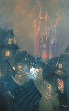 """The Palace Awaits"" By Rob Kaz - Original Oil on Canvas, 48x30.  #Disney #Cinderella"