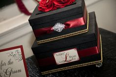 Vintage style wedding card box with vintage inspired bling by www.laceyclairedesigns.etsy.com