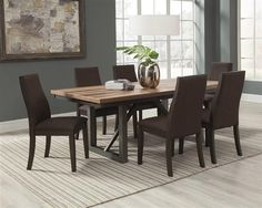 Espresso Dining Table w/ 6 Side Chairs Dining Room Sets, Dining Room Table, A Table, Dining Chairs, Kitchen Tables, Wood Chairs, Room Kitchen, Wood Table, Kitchen Cabinets
