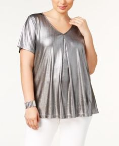 de5ff4af582 NY Collection Plus Size Pleated Metallic Top Plus Sizes - Tops - Macy s