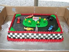 race track cake. Hot Wheels Birthday, Race Car Birthday, Race Car Party, Cars Birthday Parties, Birthday Fun, 6th Birthday Cakes, Bithday Cake, Dinosaur Birthday Cakes, Race Track Cake