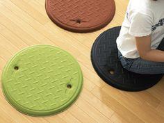 Manhole Cushion by Nendo: Made of urethane, polyester.