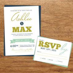 Fun Modern Wedding Invitation by kxodesign on Etsy, $3.75