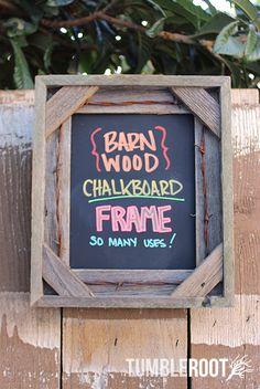 Rustic 8x10 handmade barbed wire barnwood chalkboard frame