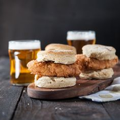 Hot Beer Fried Chicken and Pepper Biscuits. You have to make these. So, so good. It's now my go-to for parties.