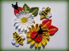 Set of Crochet Appliqué Patterns Daisy Flower Bee Bumblebee Ladybug Ladybird Leaf