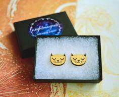 Wooden Cat Stud Earrings by Nightmagnets on Etsy