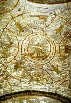 Catacomb of Priscilla. Rome, Italy. Late Antique Europe. c. 200–400 C.E. Excavated tufa and fresco. Note: tiny image.