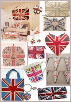 { via inspire inspire }  Clockwise, from the top left: 1.Interior decor by house-to-home, 2. Brooch by Accessorize, 3. White cushion by The London Cushion Company, 4. Blue cushion and lavender Heart by Jan Constantine, 5. Wooden bunting by Creative Flourish at not-on-the-high-s..., 6.Sequin clutch bag by Accessorize, 7. Keyring by Harrods, 8. Bag by Jan Constantine, 9. Hand embroidered Tea cosy by Jan Constantine, 10. Patchwork m...