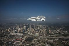 Endeavor final flight above downtown Houston, TX. This flew right over my house it was very loud but amazing.