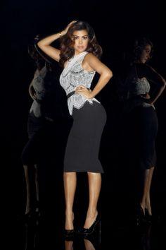 Kourtney Kardashian in  Lace Top Peplum Dress available at Lipsy.co.uk