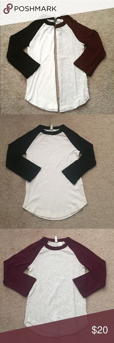 Baseball Tee Crop Top Pack of 2 (White+Black and Maroon+Grey speckle) never worn, super soft material. Slightly cropped, but see last photo for idea of length.   🚫Trades ✅ Receive 20% off when you purchase bundles of 2 or more items! Divided Tops