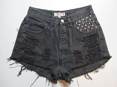26-Black-GUESS-High-Waisted-Studded-Distressed-Denim-Cutoff-Shorts