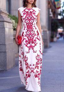 Red White Round Neck Raspberry Floral Maxi Dress